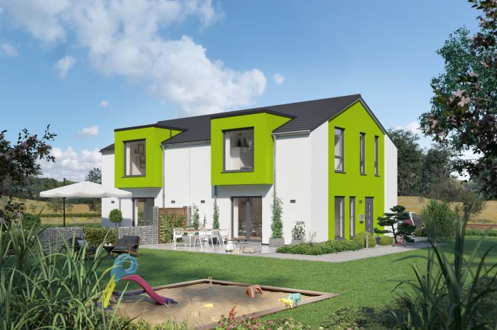 SmartSpace-D-111 Entwurf 6 - Außenansicht auf das Doppelhaus imSchwabenhaus-Grün