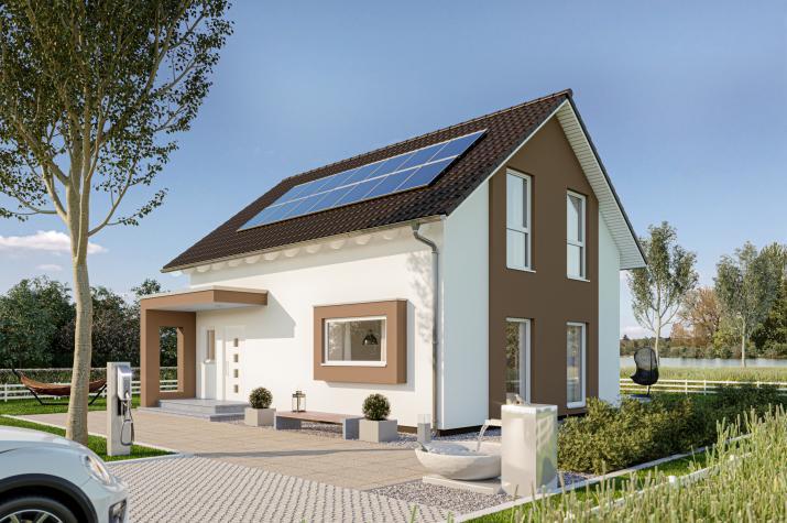 SmartSpace-E-120 Entwurf 2 - Außenansicht auf das Einfamilienhaus