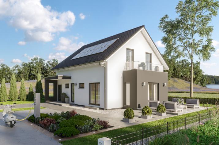 SmartSpace-E-140 Entwurf 2 - Außenansicht auf das Einfamilienhaus