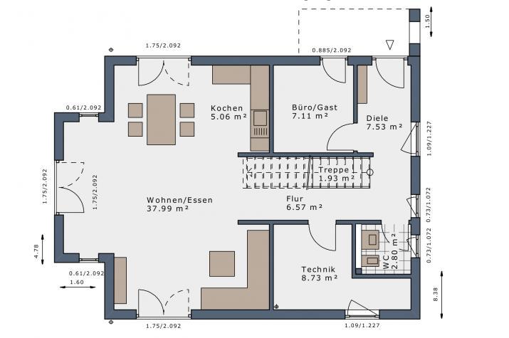 SmartSpace-E-140 Entwurf 2 - Grundriss Erdgeschoss