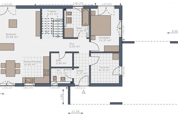 Solitaire-B-90 Entwurf 5 - Grundriss Erdgeschoss