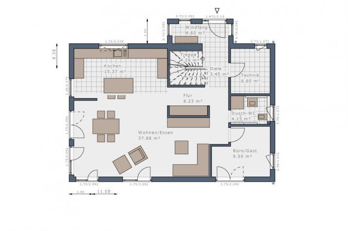 Solitaire-E-155 Entwurf 1 - Grundriss Erdgeschoss