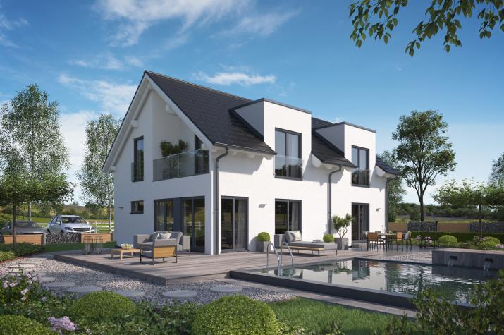 Solitaire-E-155 Entwurf 1 - Außenansicht des Einfamilienhauses