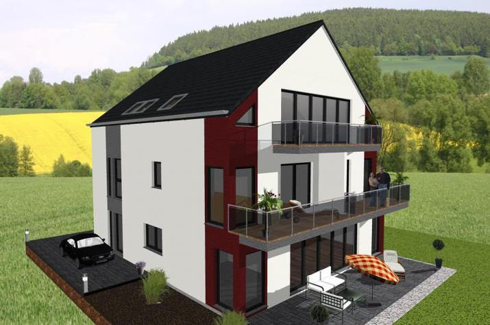 Vierfamilienhaus in moderner Architektur- www.jk-traumhaus.de -