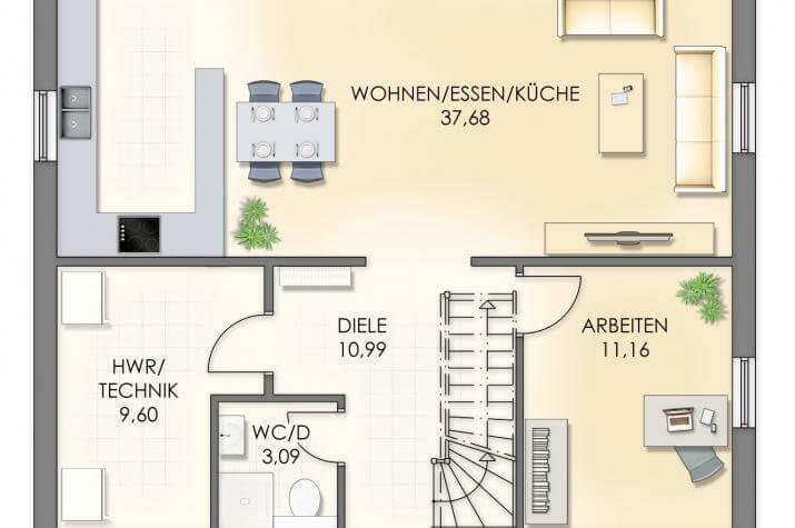 Villa Henrik Knudsen - Grundriss Erdgeschoss