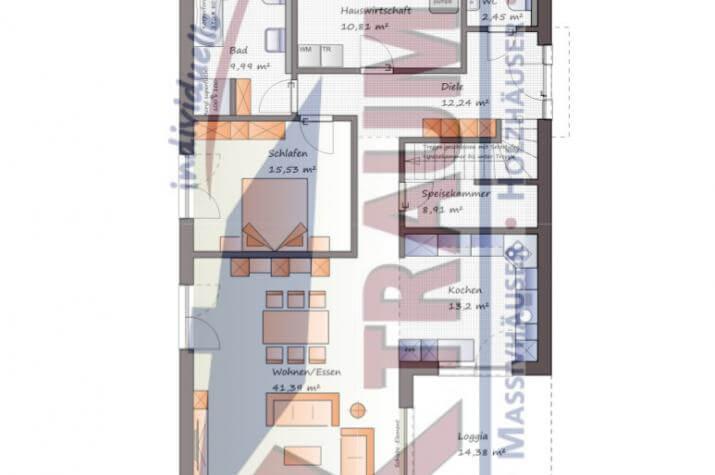 Winkelbungalow mit ausgebautem Dachgeschoss - www.jk-traumhaus.de - Grundriss EG
