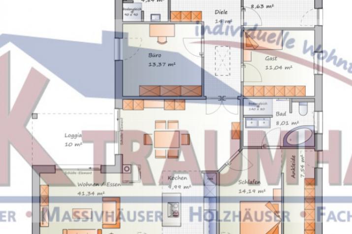 Winkelbungalow mit vielfältigen Möglichkeiten - www.jk-traumhaus.de - Grundriss EG