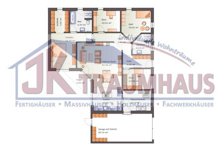 ...individuell geplant ! - Bungalow mit integrierter Garage - www.jk-traumhaus.de -