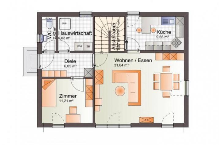 ...individuell geplant ! - Einfamilienhaus mit Zwerchgiebel - praktische Raumaufteilung kombiniert mit harmonischer Ausstrahlung - www.jk-traumhaus.de - Grundriss EG