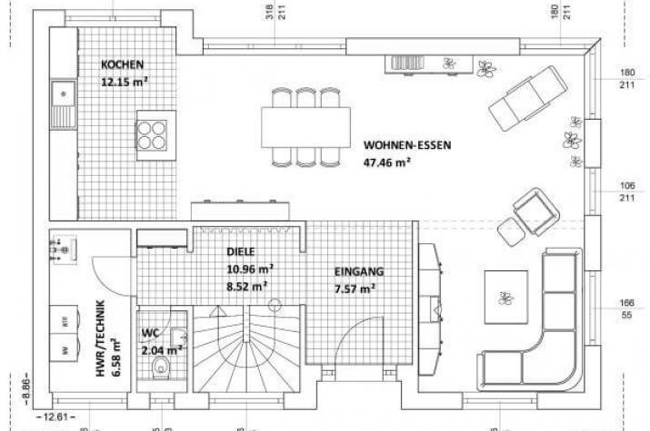...individuell geplant ! - Futuristisches Bauhaus mit Loggia für grenzenlosen Wohngenuss - www.jk-traumhaus.de - Grundriss EG