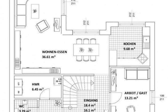 ...individuell geplant ! - Grenzenloser Wohngenuss in klarer Kubusarchitektur - www.jk-traumhaus.de - Grundriss EG