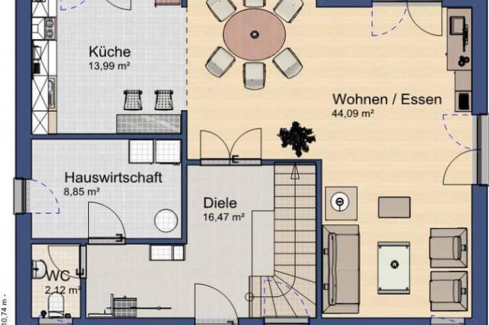 ...individuell geplant ! - Großzügiges Einfamilienhaus mit villenartigen Stilelementen - www.jk-traumhaus.de - Grundriss EG