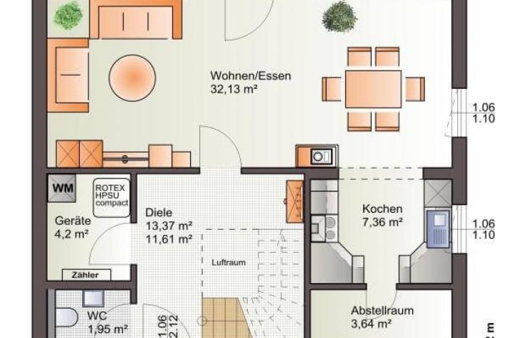 ...individuell geplant ! - Idyllisches Wohnen mit Freiraum für Ästhetik - www.jk-traumhaus.de - Grundriss EG