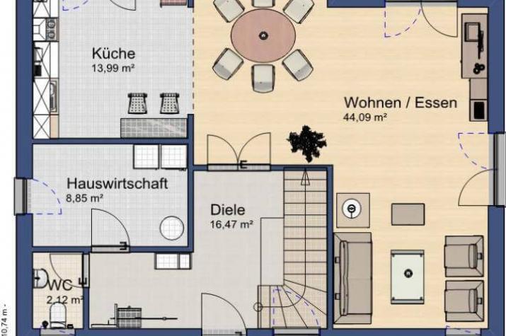 ...individuell geplant ! - Mansarddachvilla mit vielfältigen Stilelementen - www.jk-traumhaus.de - Grundriss EG
