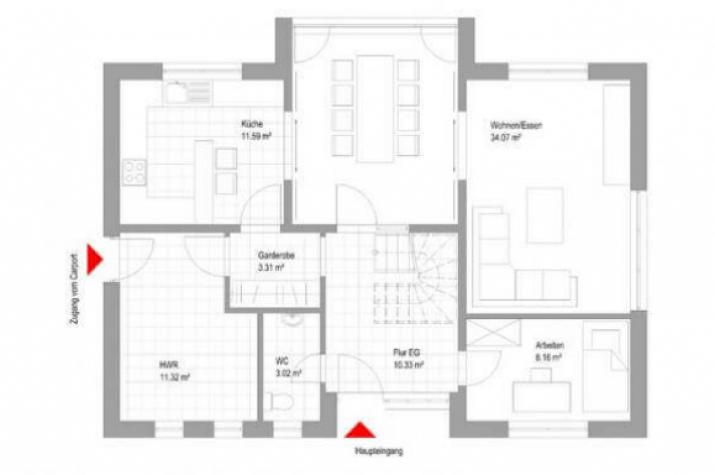 ...individuell geplant ! - Modernes Einfamilienhaus mit interessantem Erker - www.jk-traumhaus.de - Grundriss EG