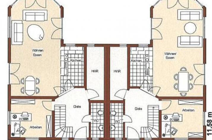 ...individuell geplant ! - Nordisches Doppelhaus mit Runderkern - www.jk-traumhaus.de - grundriss eg