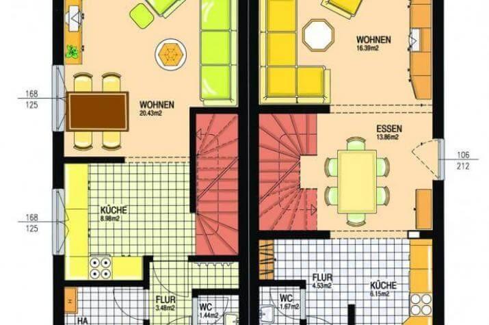...individuell geplant ! - Pultdach-Doppelhaus mit Dachterrasse - moderne Architektur mal zwei - www.jk-traumhaus.de - Grundriss EG