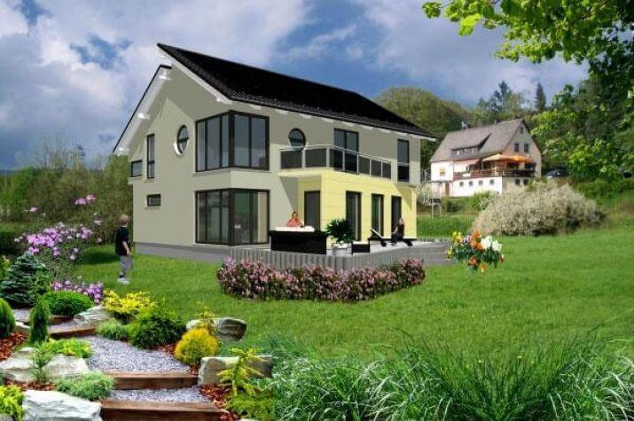 ...individuell geplant ! - Schräge Architektur unter versetztem Pultdach - www.jk-traumhaus.de - Gartenseite