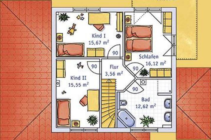 ...individuell geplant ! - Stadtvilla im Toscana-Stil mit integriertem Carport - www.jk-traumhaus.de - grundriss dg
