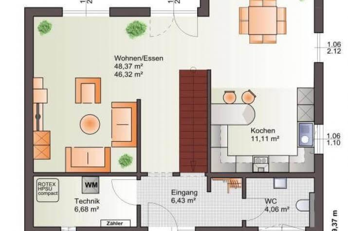 ...individuell geplant ! - Zeitloser Kubus mit markantem Erker nebst Balkon - www.jk-traumhaus.de - Grundriss EG