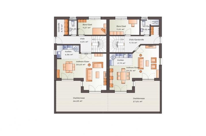 ...individuell geplant ! -Doppelhaus, ideal für Hanglage - www.jk-traumhaus.de - Grundriss EG