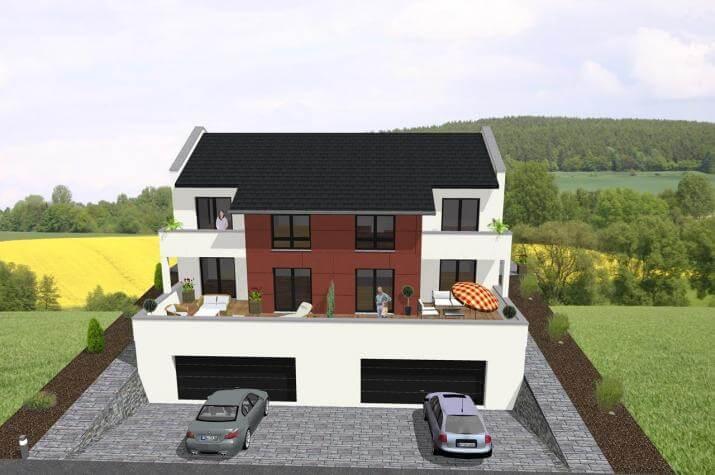 ...individuell geplant ! -Doppelhaus, ideal für Hanglage - www.jk-traumhaus.de -